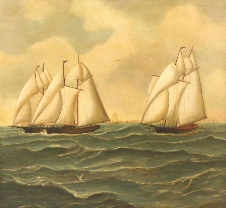 American School, 19th Century  Famous Race of the Dauntless, Vespa, and Coronet off Newport, Rhode Island.
