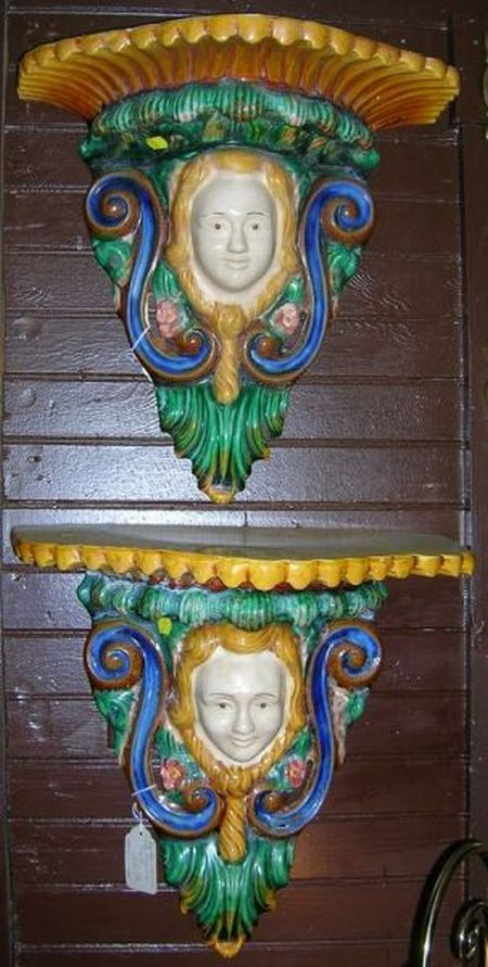 Pair of Majolica Figural Wall Brackets