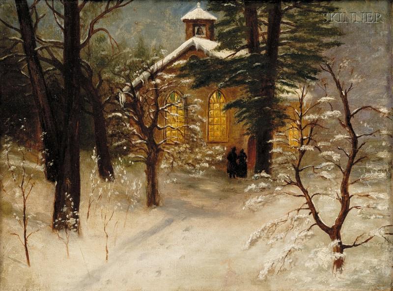 Albert Babb Insley (American, 1842-1937)      Evening Service, Old Baptist Church