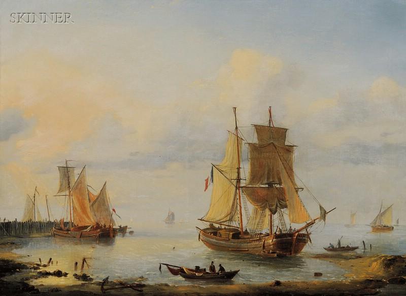 Louis Charles Verboeckhoven (Belgian, 1802-1889)      Busy Harbor