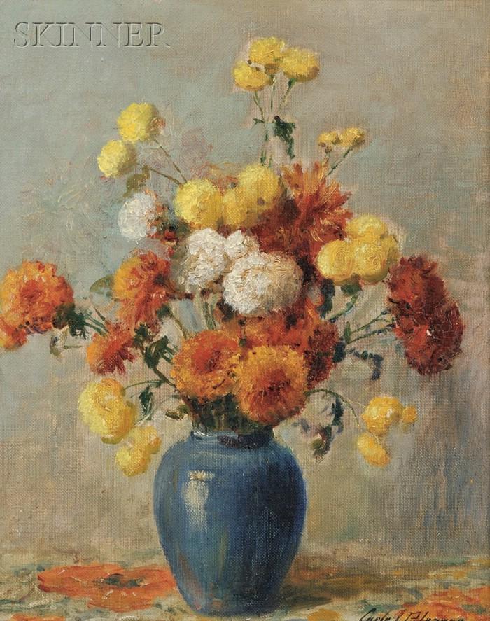Carle John Blenner (American, 1862-1952)      Still Life with Chrysanthemums.