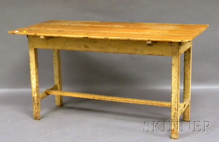 Yellow-painted Wood Stretcher-base Table