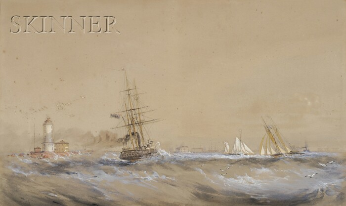 Sir Oswald Walters Brierly (British, 1817-1894)      Coming In To Portsmouth
