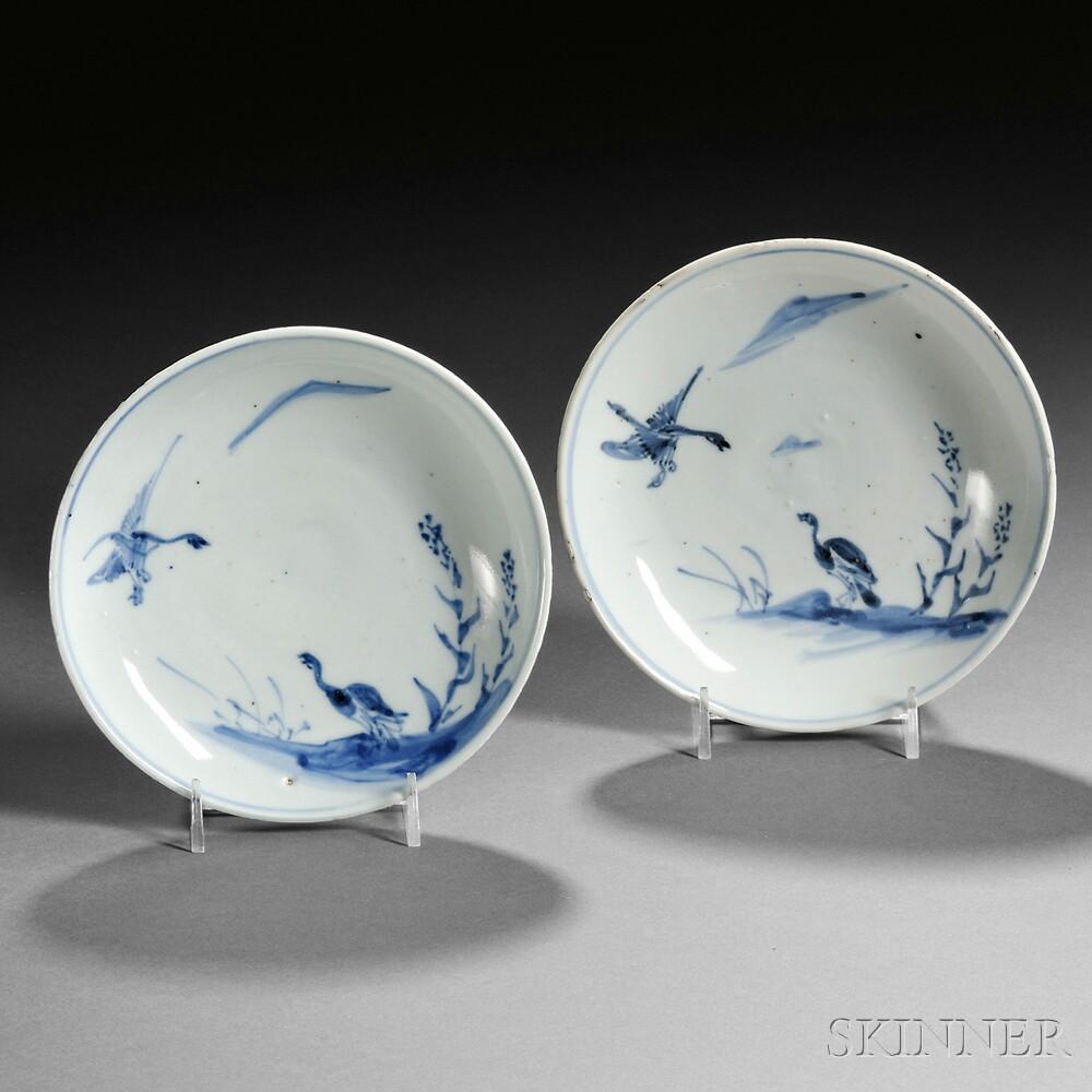 Pair of Blue and White Ko-sometsuke   Dishes