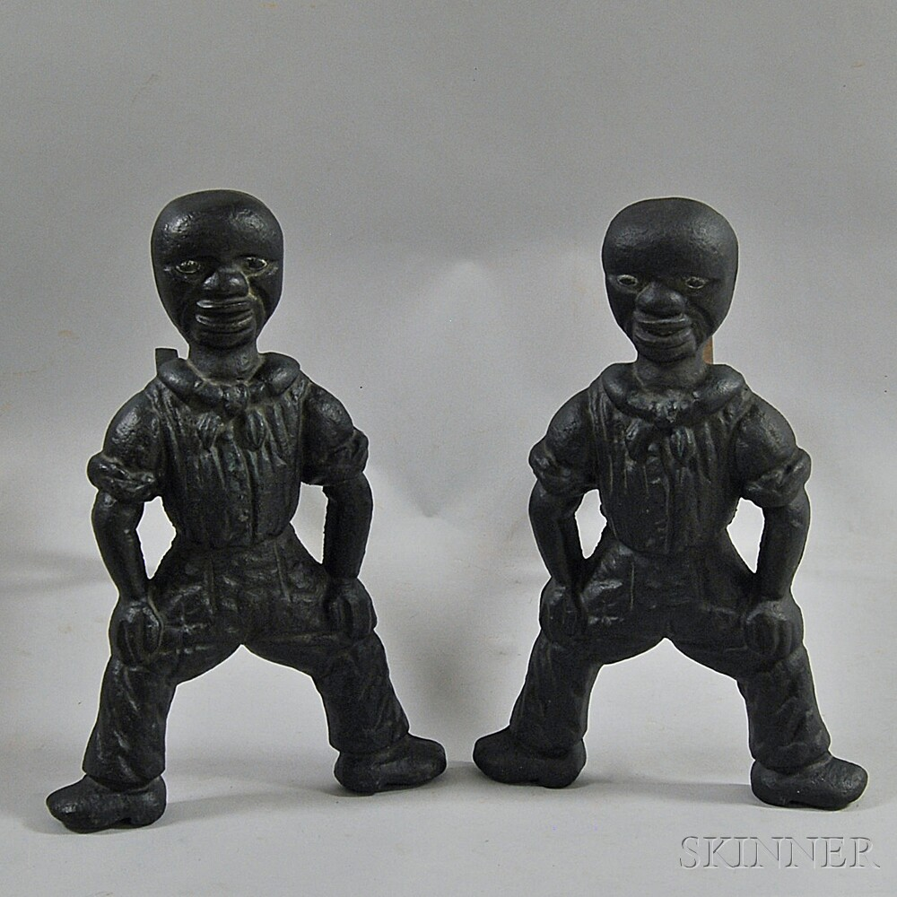 Pair of Black-painted Cast Iron American Sailor Andirons