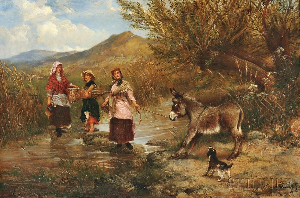 Edgar Bundy (British, 1862-1922)      The Reluctant Donkey