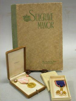 Tiffany Gilt Bronze and Enameled 1914 Sulgrave Institution Medal and J.E. Caldwell &   Co. Mayflower Society Gilt Bronze Medal
