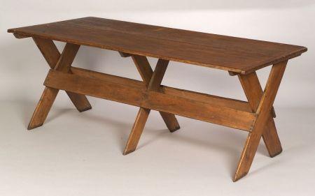 Pine and Ash Sawbuck Table