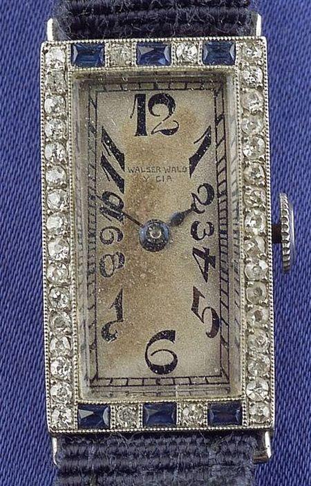 Art Deco Lady's Platinum, Sapphire, and Diamond Wristwatch, Walser Wald