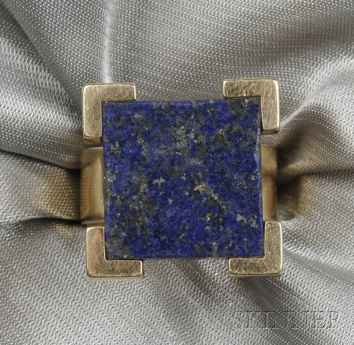 Modernist 14kt Gold and Lapis Ring, Jens Asby