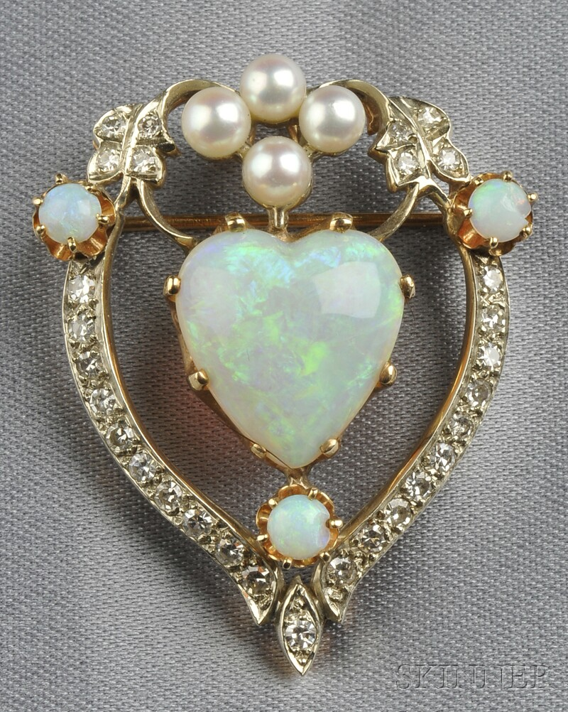 Opal, Cultured Pearl, and Diamond Pendant/Brooch
