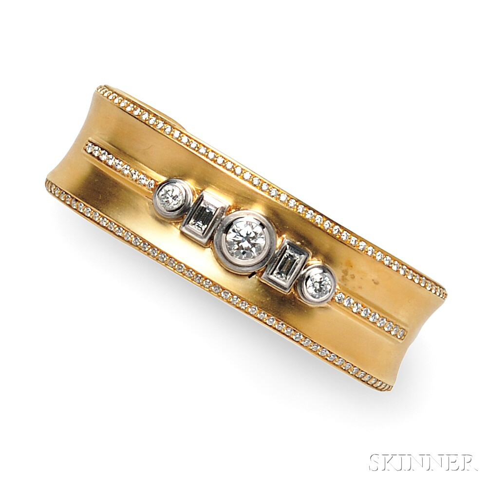 18kt Gold and Diamond Cuff Bracelet, Sam Lehr