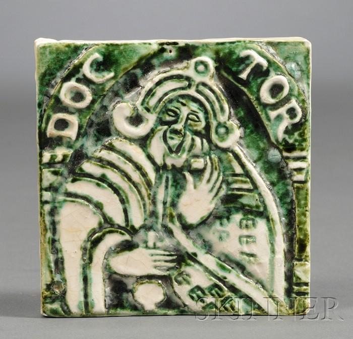 Arts & Crafts Figural Tile