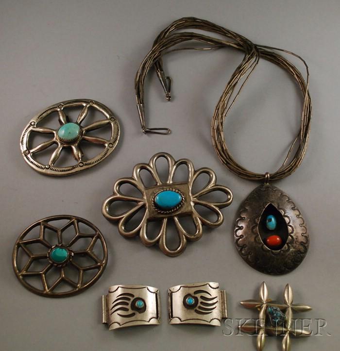 Six Pieces of Southwestern Silver Jewelry