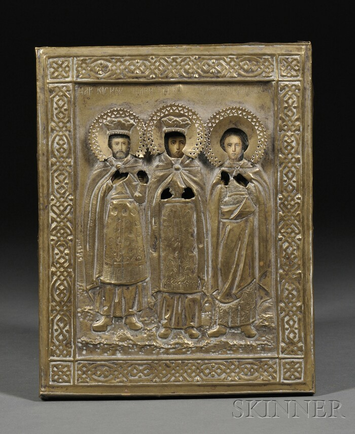 Russian Icon of Three Patron Saints with Brass Riza
