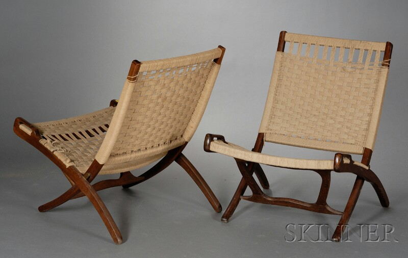Two Mid-Century Modern Folding Chairs