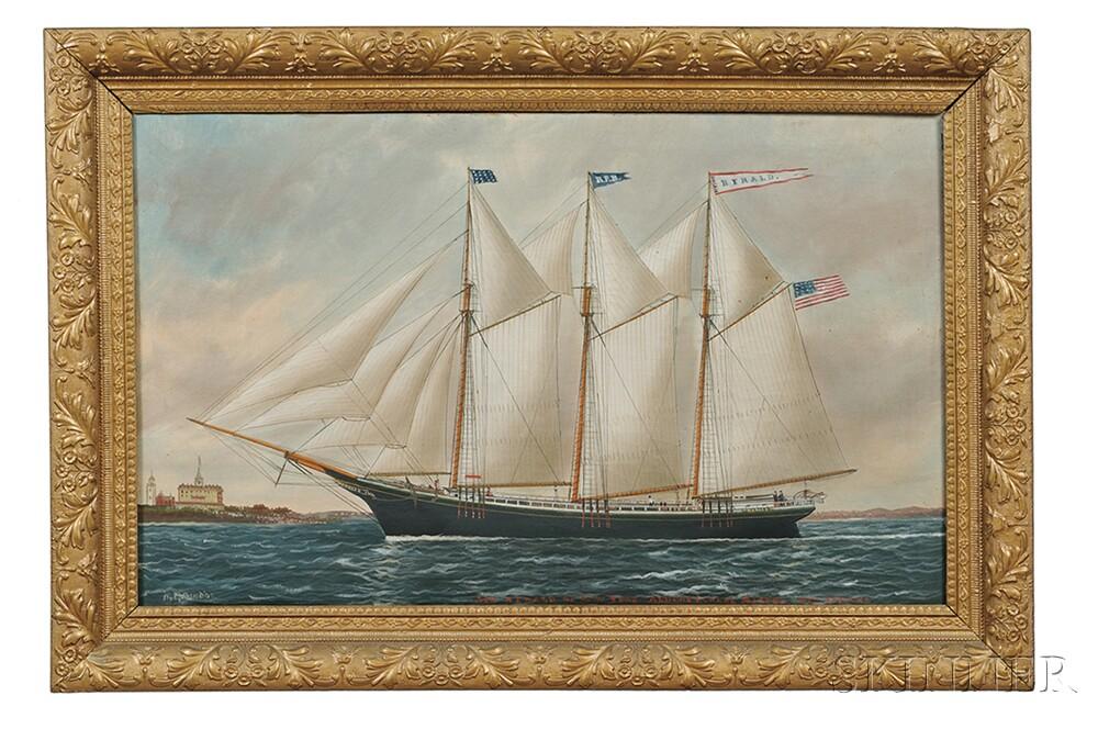William Pierce Stubbs (Maine/Massachusetts, 1842-1909)      Portrait of the Schooner Herald   of New York.