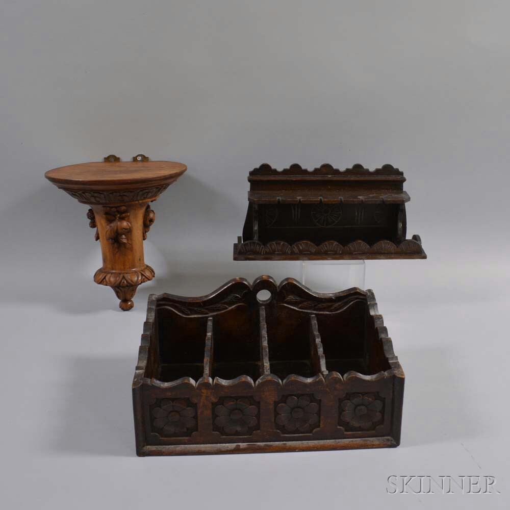Three Carved Wood Items