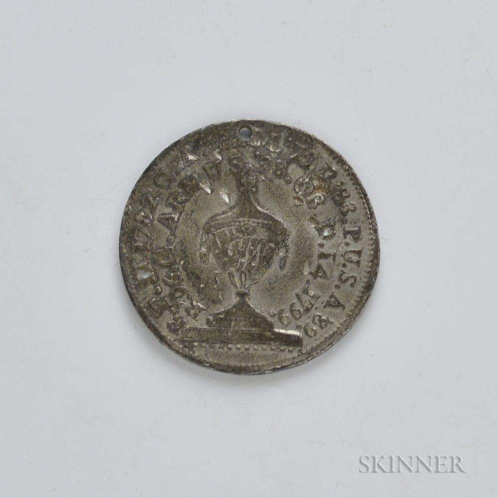 1800 Perkins White Metal Washington Funeral Urn Medal, Baker-166C