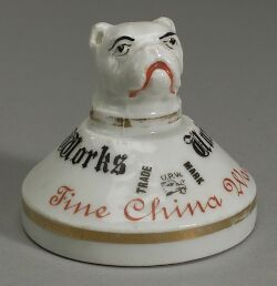 Union Porcelain Works White Glazed Advertising Paperweight