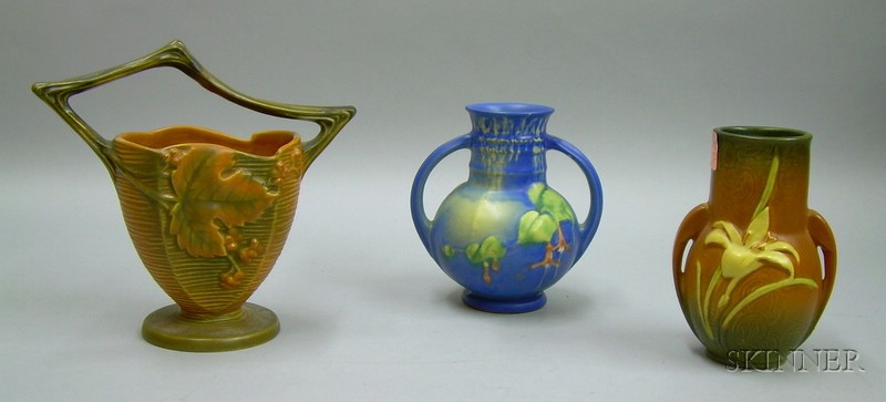 Three Roseville Pottery Fuchsia, Bushberry, and Zephyr Lily Vases.