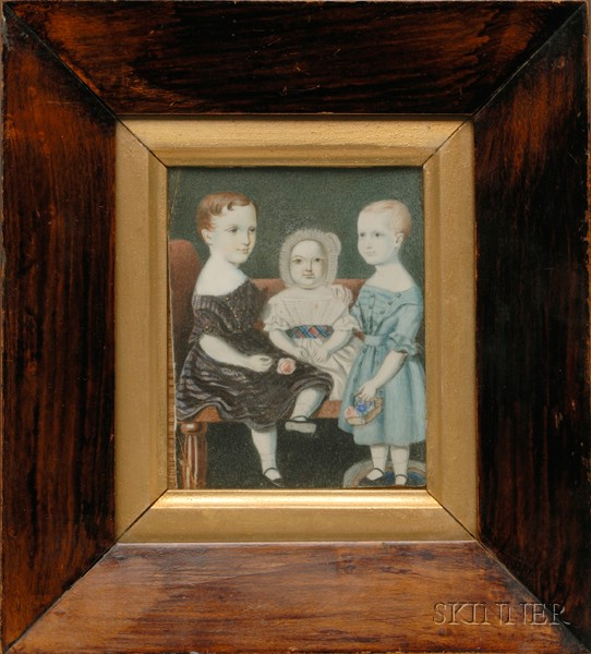 American School, 19th Century      Portrait Miniature of Three Young Children.