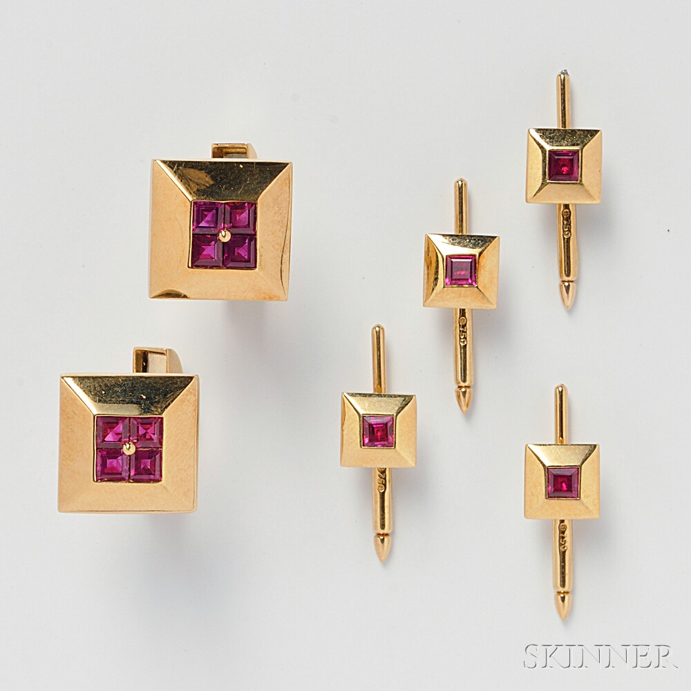 Gentleman's 18kt Gold and Ruby Dress Set