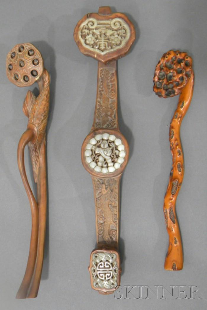 Three Wood Ruyi Scepters