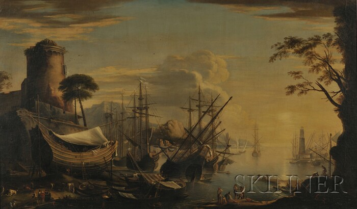 Manner of Joseph Vernet (French, 1714-1789)      View of a Seaport with Galleons in the Harbor