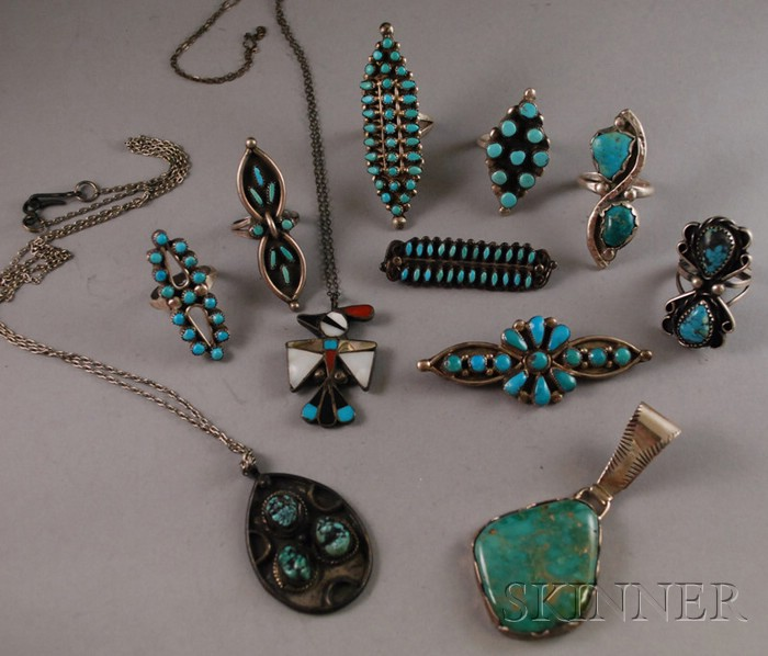 Eleven Pieces of Southwestern Silver Jewelry