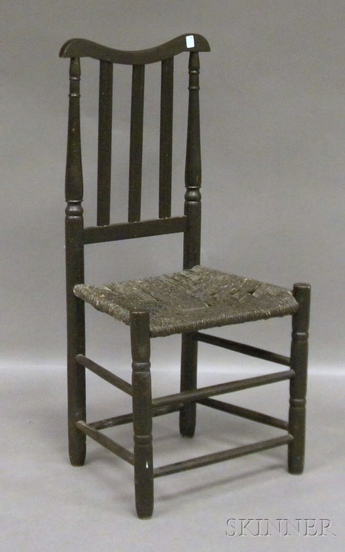 Black-painted Bannister-back Side Chair with Painted Woven Rush Seat.