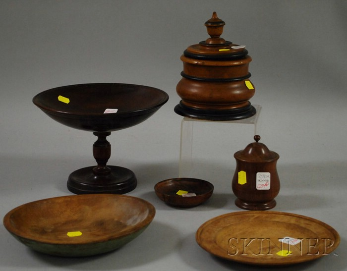 Six Assorted Turned Wood Table Items