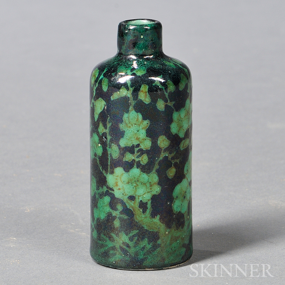 Green and Black Glazed Snuff Bottle
