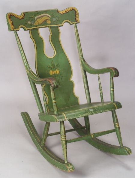 Painted and Decorated Rocking Armchair