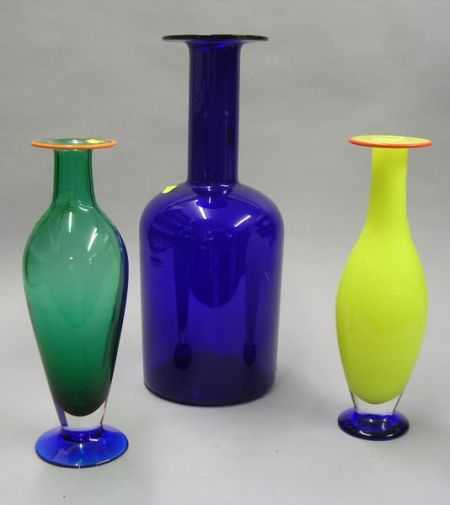 Holmgaard Cobalt Blue Glass Bottle Vase and Two Orrefors Colored Glass Vases