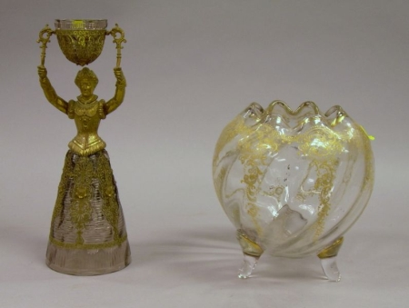 Gilt-metal Mounted Colorless Glass Figural Wedding Cup and a Gilt Enamel Decorated Footed Colorless Glass Rose ...
