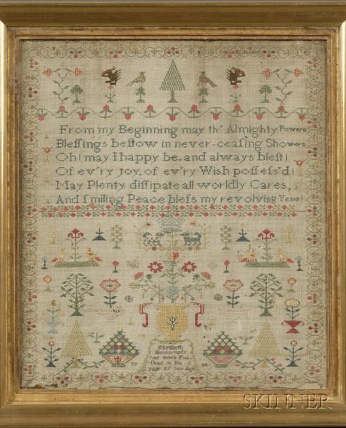 Framed British 1786 Elizabeth Holderness Needlework Sampler