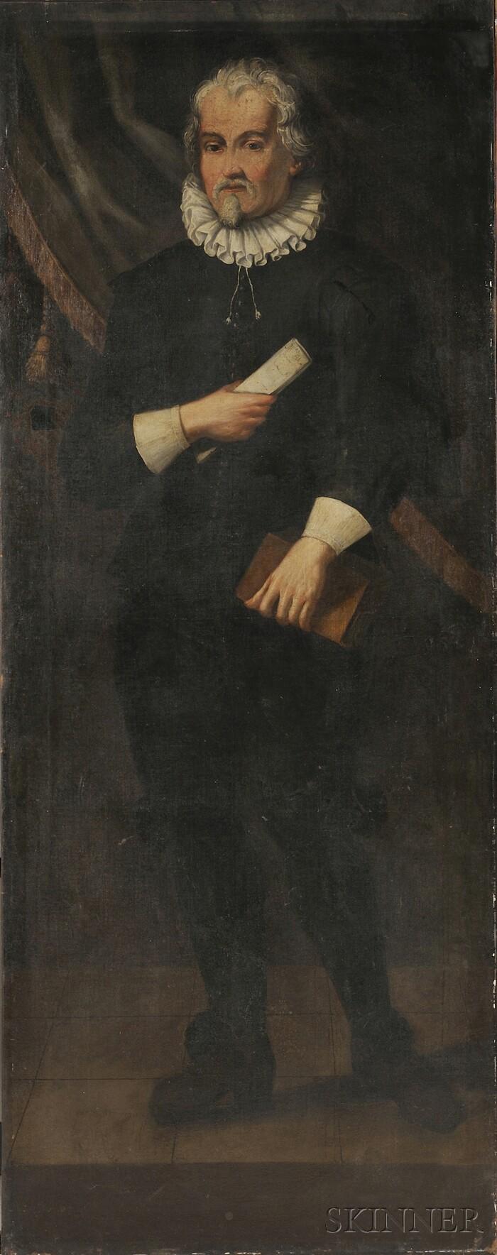 Dutch School, 19th Century      Pair of Full-length Portraits of Gentlemen
