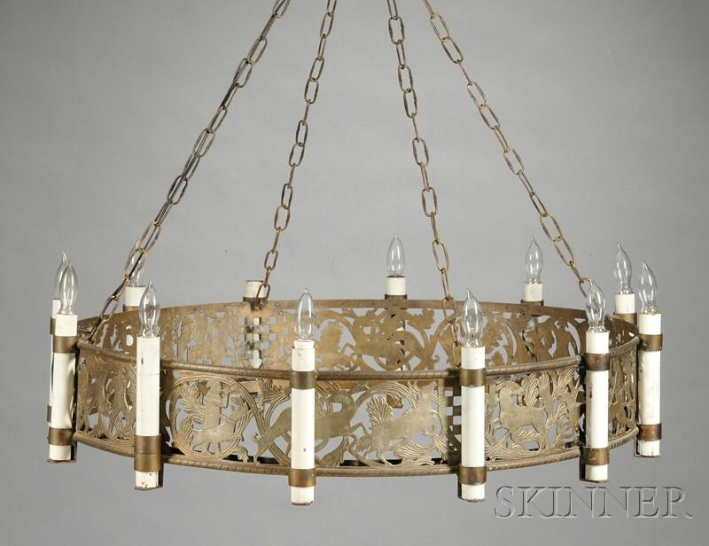 Bronze Twelve-light Chandelier