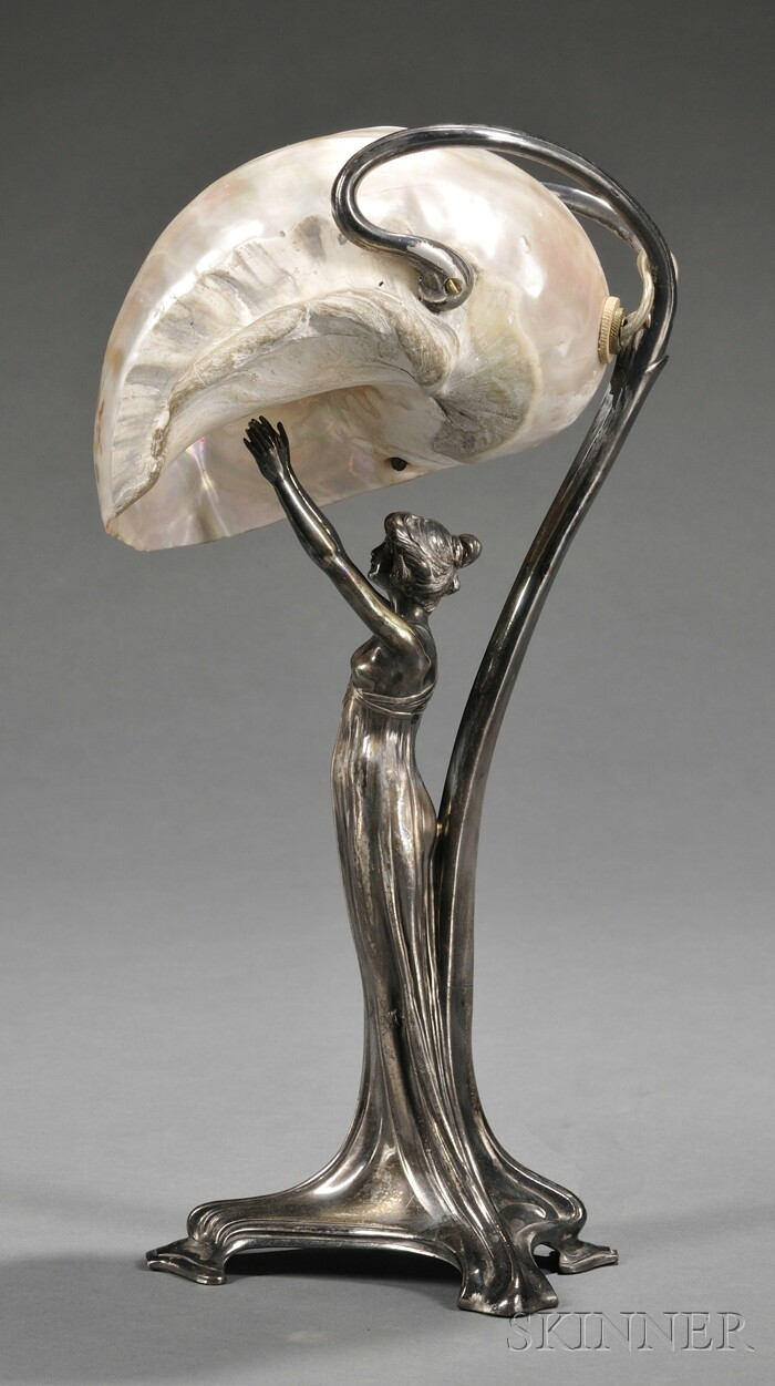 Art Nouveau Silver-plate and Mother-of-pearl Figural Lamp