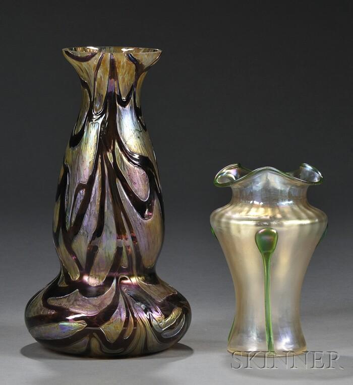 Two Wilhelm Kralik Attributed Art Nouveau Vases