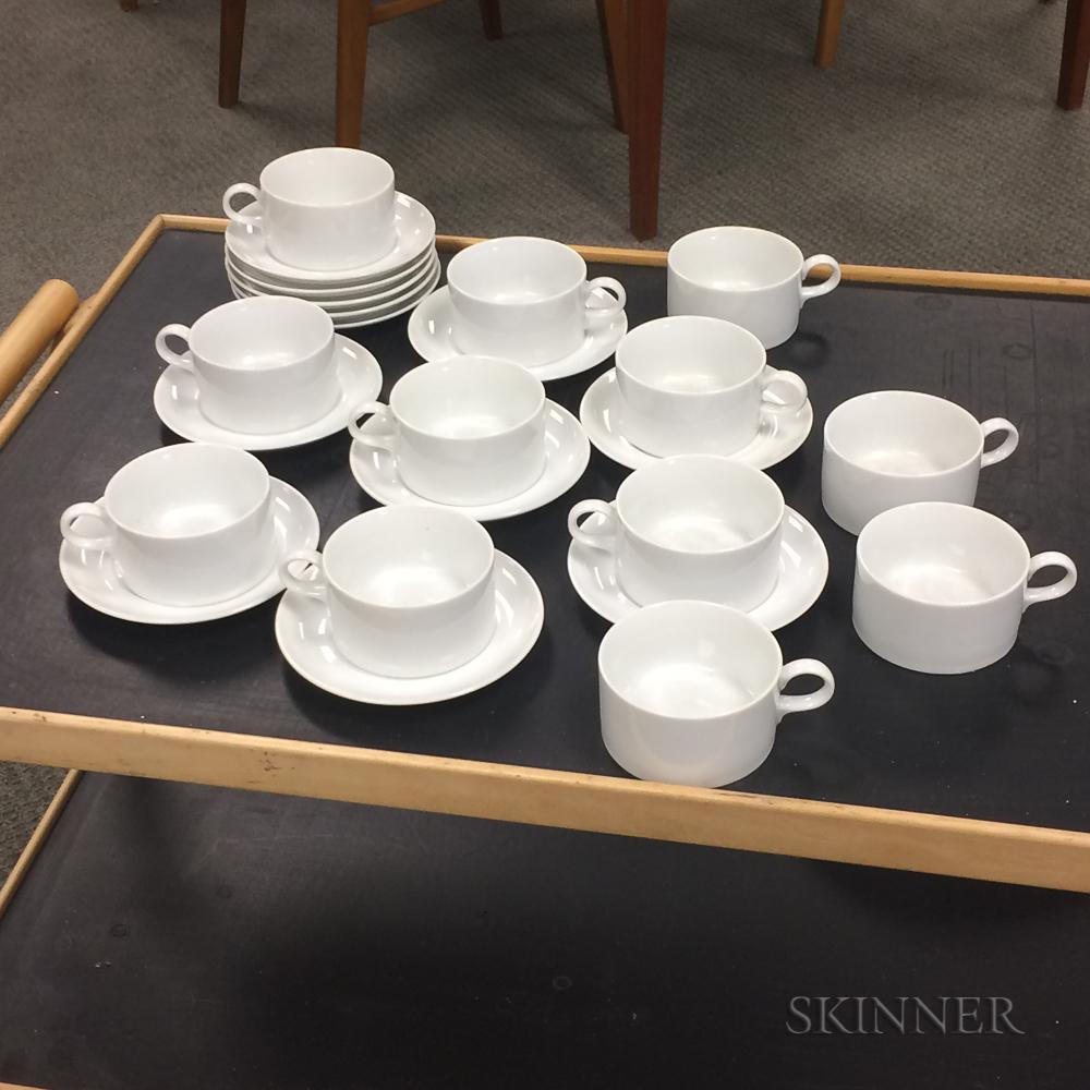 Twelve White Schmid Porcelain Teacups and Saucers.     Estimate $20-200