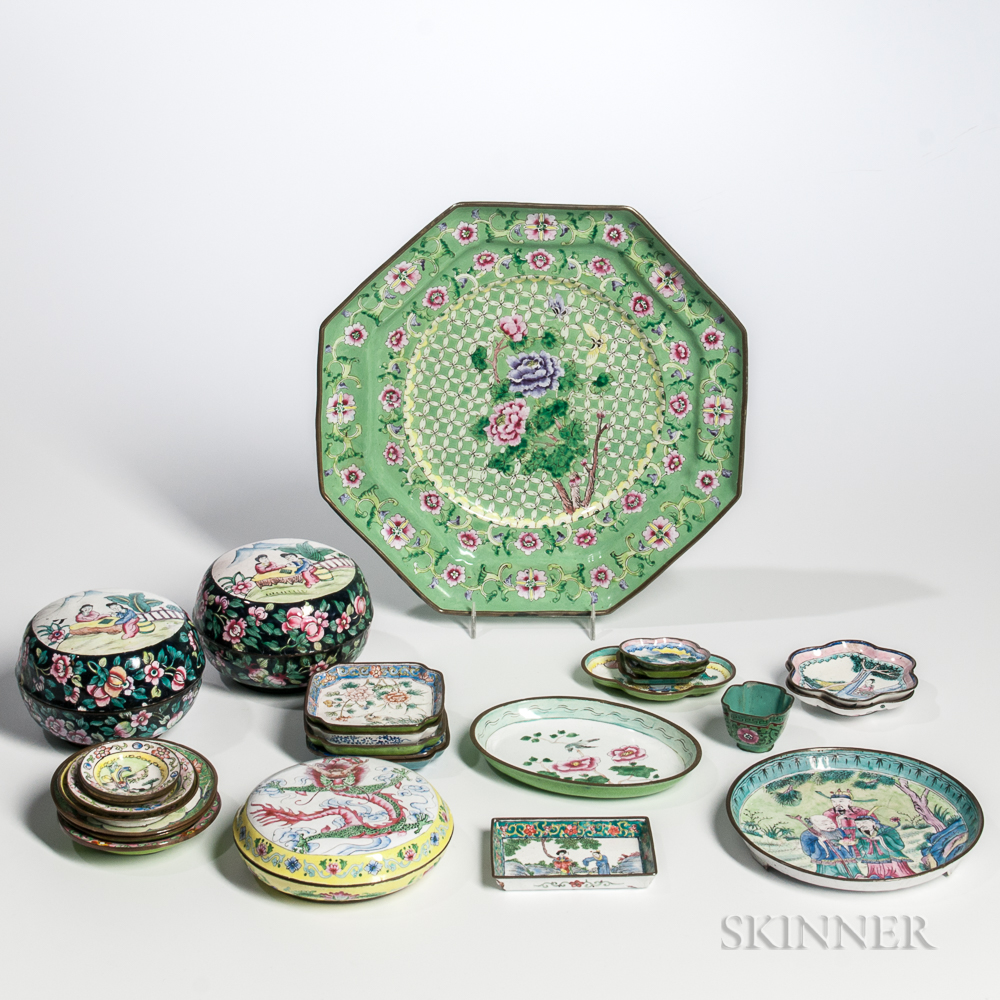 Group of Canton Enamel Dishes and Covered Boxes