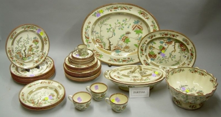 Approximately Sixty-seven Piece Copeland Chinoiserie Pattern Ceramic Partial Dinner Service.