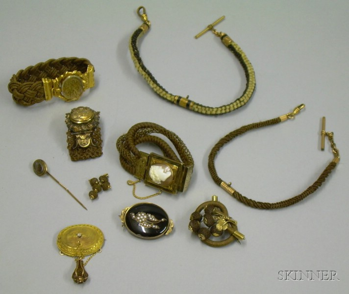 Ten Pieces of Victorian Hair Jewelry