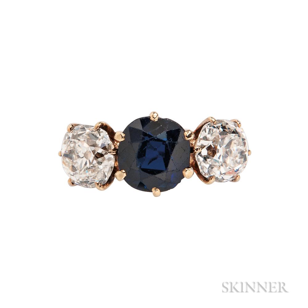 18kt Gold, Sapphire, and Diamond Three-stone Ring