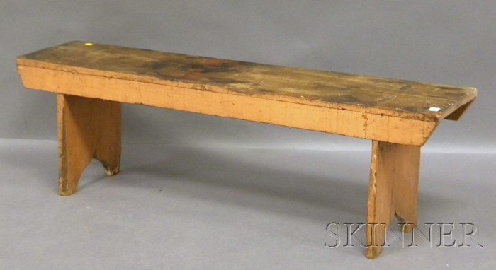 Salmon-painted Wood Bucket Bench