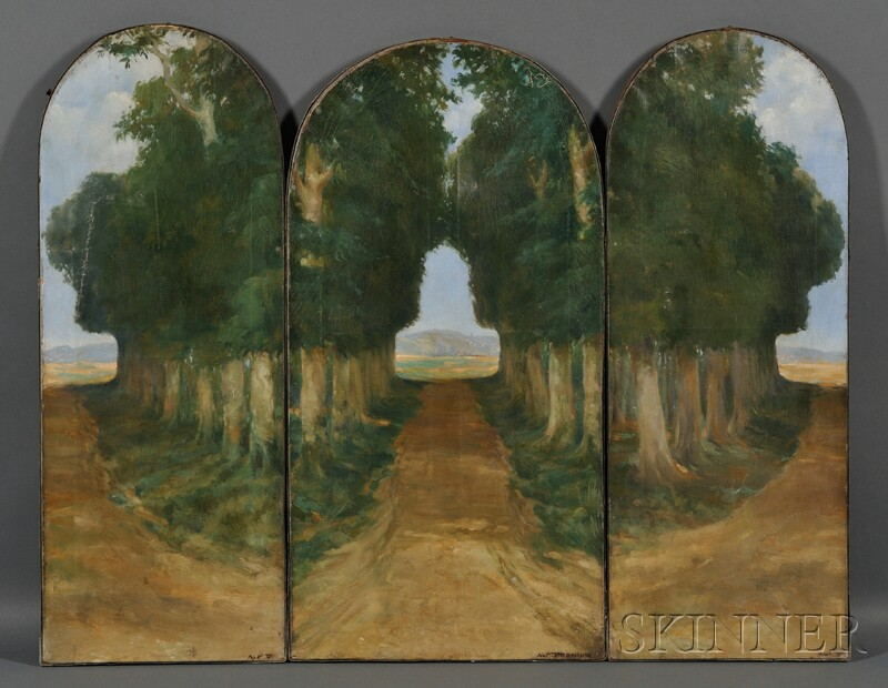 Three-panel Tombstone-shaped Screen with Painted Landscape