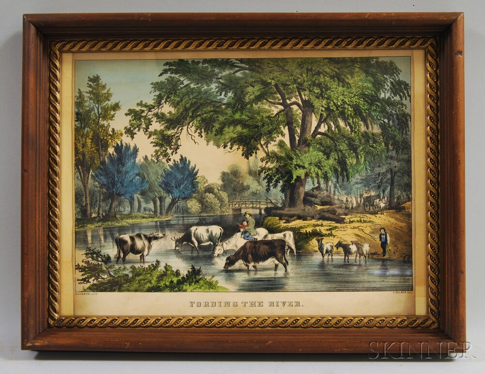 Nathaniel Currier Hand-colored Engraving Fording the River