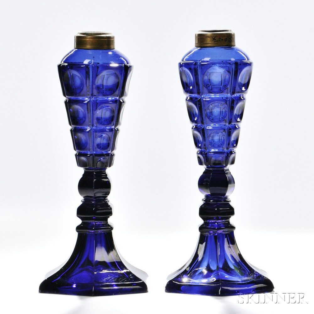 Pair of Cobalt-blue Pressed Glass Four-printie Block Pattern Lamps